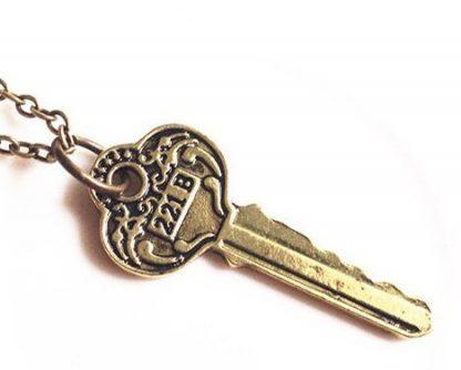 Sherlock Holmes Key to 221B Baker Street Necklace - Antique Key, Brass