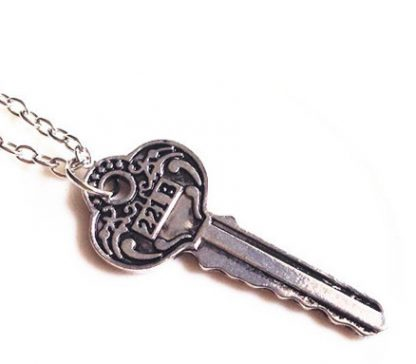 Sherlock Holmes Key to 221B Baker Street Necklace - Antique Key, Silver