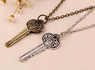 Sherlock Holmes Key to 221B Baker Street Necklace - Antique Key, Silver or Brass