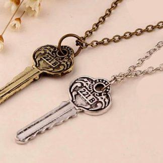 Sherlock Holmes Key to 221B Baker Street Necklace - Antique Key, Silver or Brass