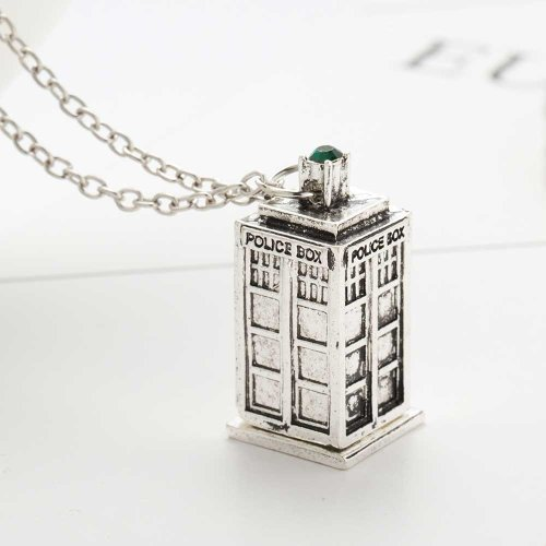 Doctor Who Tardis Necklace - Antique Silver
