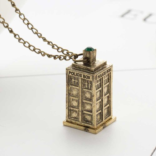 Doctor Who Tardis Necklace - Antique Brass