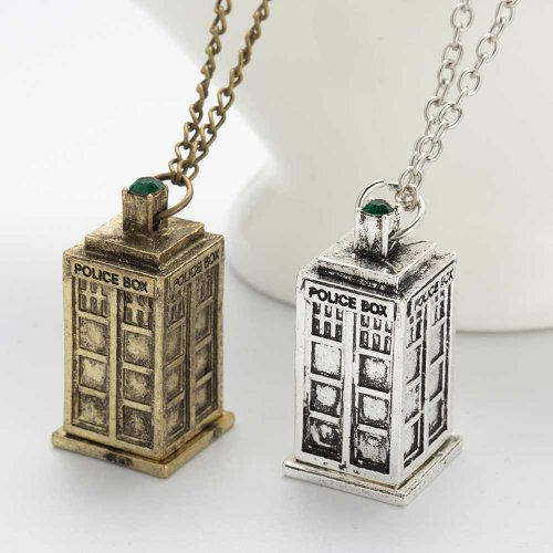 Doctor Who Tardis Necklace - Antique Silver or Antique Brass