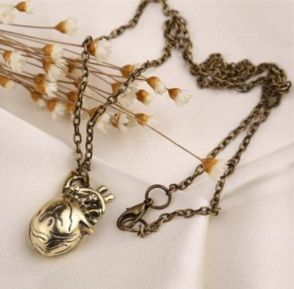 Anatomical Heart Necklace – Antique Gold