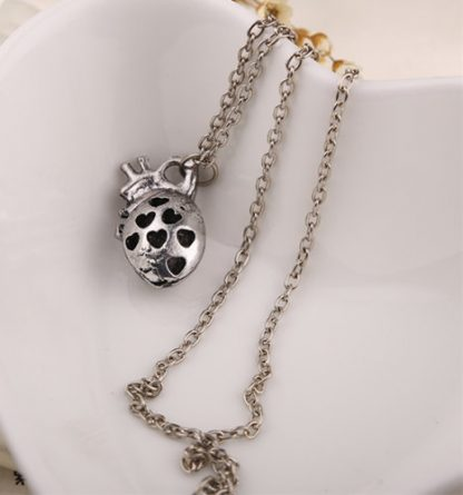 Anatomical Heart Necklace – Antique Silver