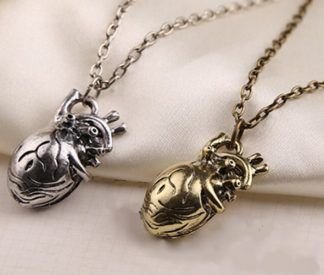 Anatomical Heart Necklace – Antique Gold or Antique Silver
