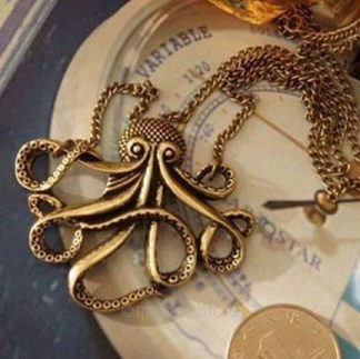 Vintage Steampunk Octopus Necklace