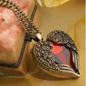 Vintage Steampunk Heart & Wings Necklace