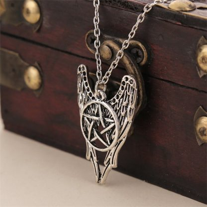Supernatural Castiel Pentagram & Angel Wings Necklace