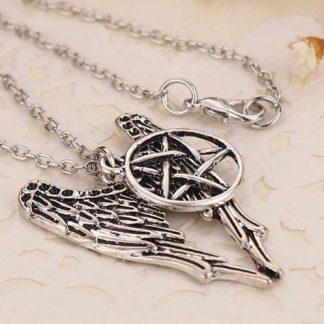 Supernatural Castiel Pentagram & Angel Wings Necklace