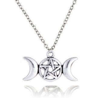 Moons and Pentagram Wiccan Necklace