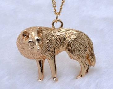 Game of Thrones Direwolf Necklace - Antique Gold