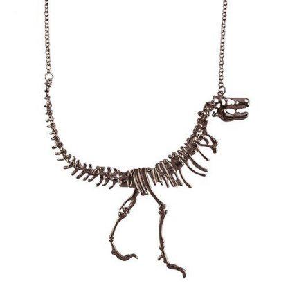 Dinosaur Fossil T-Rex Necklace - Gunmetal Black