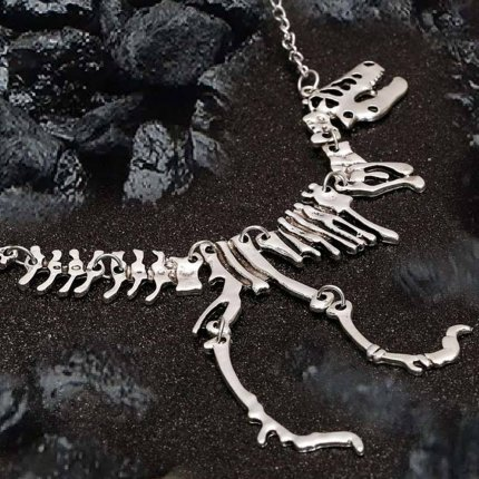 Dinosaur Fossil T-Rex Necklace - Gold, Silver or Gunmetal Black