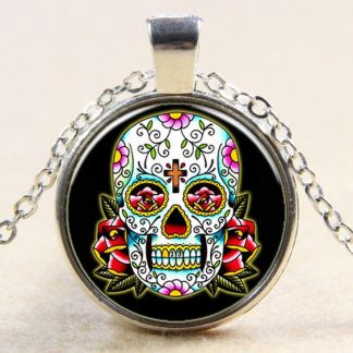 Sugar Skull Cabochon Necklace