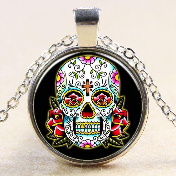 Sugar Skull Cabochon Necklace