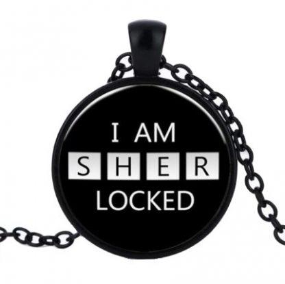 I Am Sherlocked Cabochon Necklace - Black