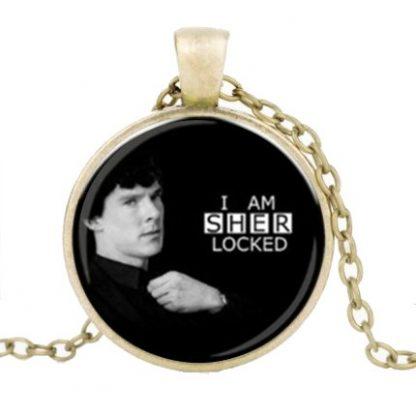 I Am Sherlocked Cabochon Necklace #2 - Gold