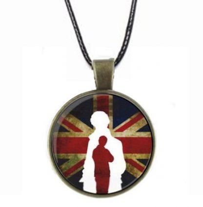 Sherlock Union Jack Cabochon Necklace - Antique Brass