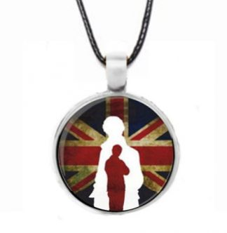 Sherlock Union Jack Cabochon Necklace - Silver
