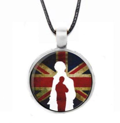 Sherlock Union Jack Cabochon Necklace - Silver
