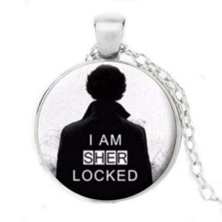 Sherlock I Am Sherlocked Cabochon Necklace #3 - Silver