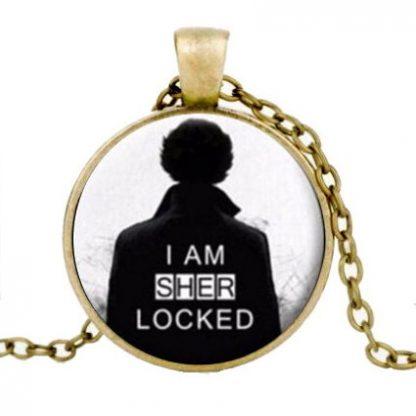 Sherlock I Am Sherlocked Cabochon Necklace #3 - Gold