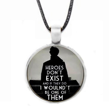Sherlock Heroes Don't Exist Cabochon Necklace - Silver