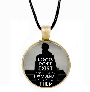 Sherlock Heroes Don't Exist Cabochon Necklace - Gold