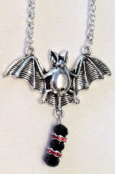 Batty Elegance Necklace - Red Bead