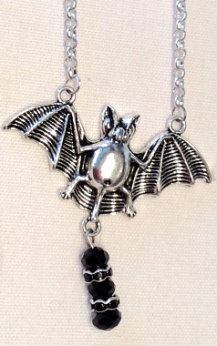 Batty Elegance Necklace - Black Bead