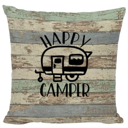 Barn Board Happy Camper Pillow Cover