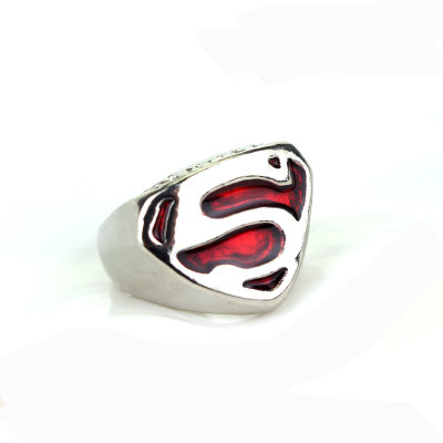 Superman Red & Silver S Ring