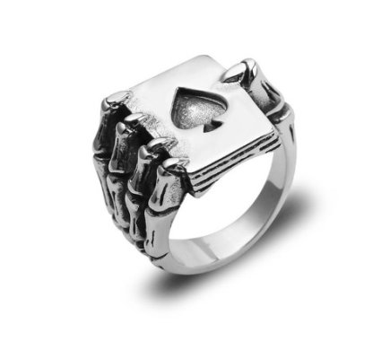 Ace of Spades Skeleton Hand Ring