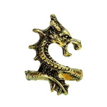 Gothic Dragon Ring - Antique Gold