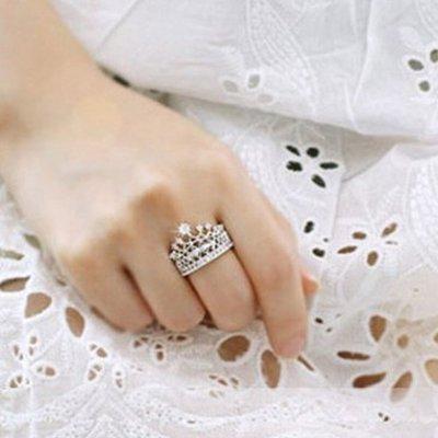 Princess Style Vintage Rhinestone Crown Ring #1