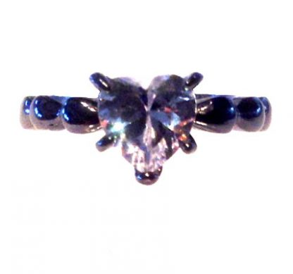 Crystal and Black Heart Ring