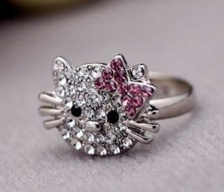 Hello Kitty Style Rhinestone Ring