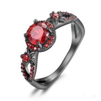 Gothic Black and Red Crystal Ring