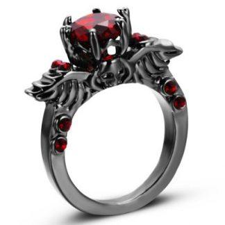 Skull & Wings Red Crystal Ring