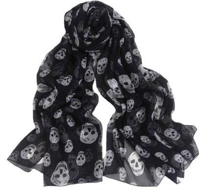 Skull Print Chiffon Scarf - Black
