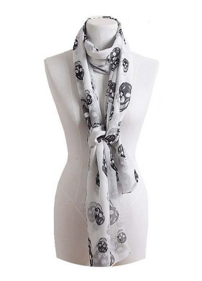 Skull Print Chiffon Scarf - White