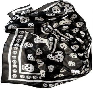 Skull Print Chiffon Scarf - Black Lg