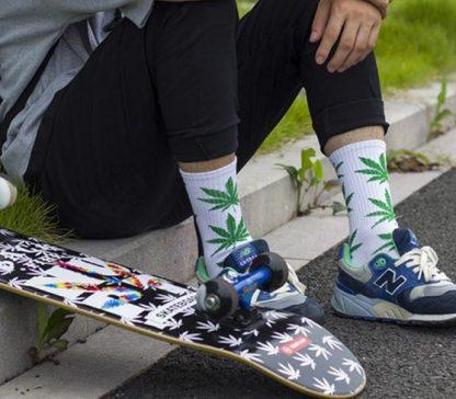 Marijuana Leaf Unisex Crew Socks - White w/Green Leaf