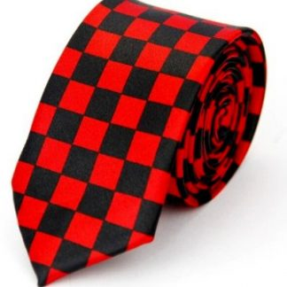 Checkered Black & Red Tie