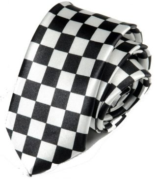 Checkered Black & White Tie