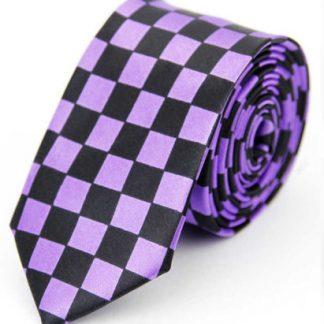 Checkered Black & Purple Tie