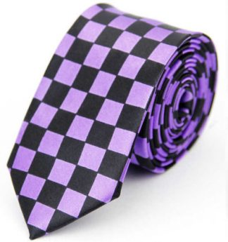 Checkered Black & Purple Tie