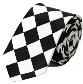Diamond Checkered Black & White Tie