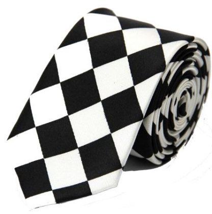 Diamond Checkered Black & White Tie